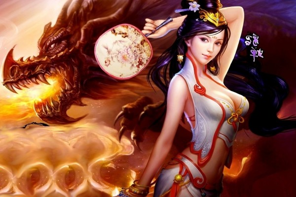 Dragón y mujer