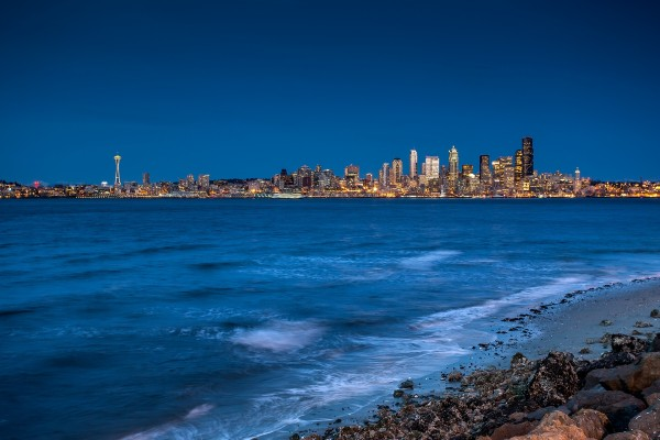 Vista de Seattle desde una playa