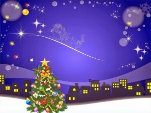 Postal: Pino con adornos navideños