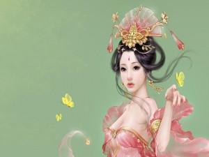 Postal: Mujer oriental con mariposas amarillas