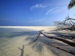 Una playa de fina arena blanca