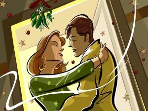 Postal: Beso bajo el muérdago