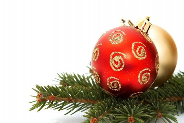 Bola roja y dorada para Navidad