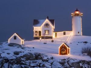 Casas con luces de Navidad