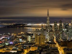Postal: Noche en la ciudad de San Francisco