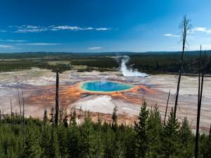 Postal: El Grand Prismatic Spring en el Parque Nacional de Yellowstone