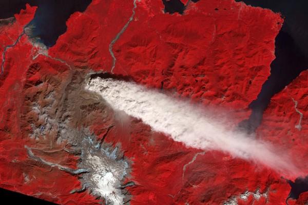 Efecto de un volcán desde el espacio