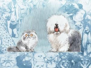 Un gato y un perro pintados