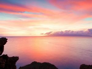 Cielo y mar en tonos anaranjados