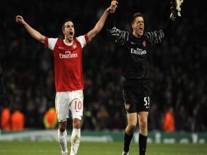 Robin Van Persie y Wojciech Szczesny (Arsenal)