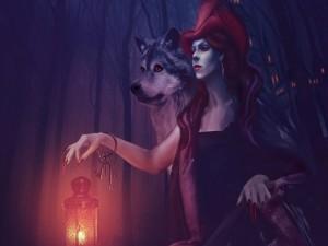 Bruja con largas uñas rojas