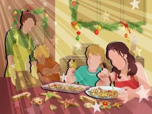 Postal: Preparando galletas de Navidad en familia