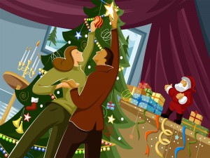 Esposos adornan juntos el árbol de Navidad