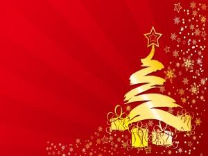 Postal: Árbol de Navidad dorado