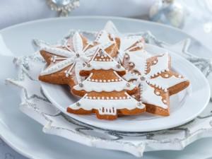 Postal: Plato con galletas de Navidad