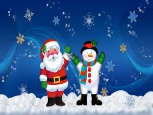 Santa Claus y un muñeco de nieve