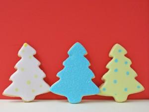 Árboles de Navidad hechos de galleta