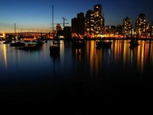 Luces en la noche de Vancouver
