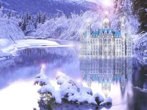 Palacio en el lago helado