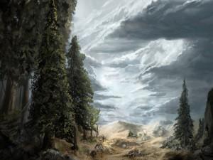 Postal: Paisaje con árboles y nubes