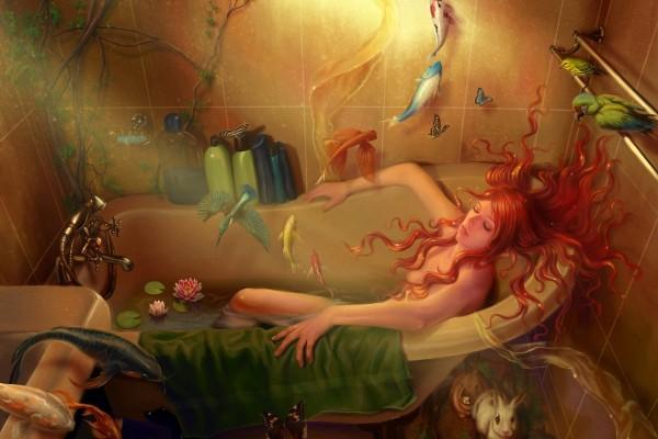 Muchacha y animales en el baño