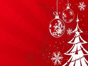 Postal: Árbol de Navidad y adornos