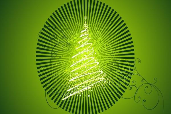 Árbol de Navidad en un fondo verde