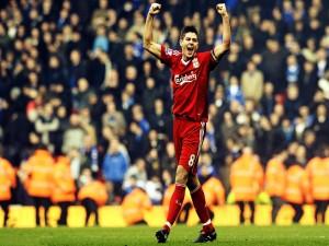 Postal: Steven Gerrard con el Liverpool F.C.