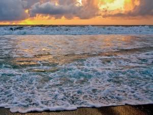 La espuma de las olas llegando a la orilla de la playa