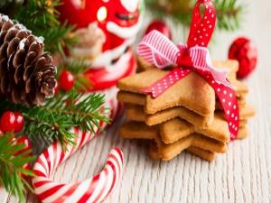 Postal: Galletas de estrellas para Navidad