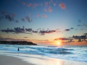Postal: Puesta de sol sobre el mar