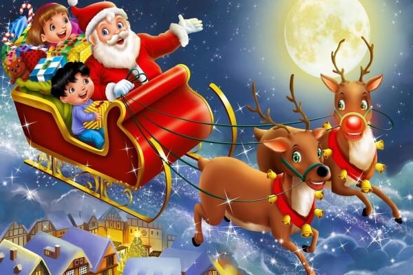 Santa Claus repartiendo regalos