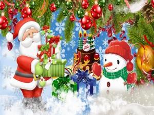 Postal: Santa Claus con regalos para Navidad