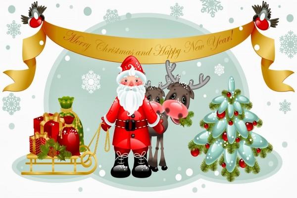 """Santa Claus con el mensaje """"Feliz Navidad y Feliz Año Nuevo"""""""