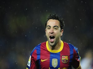 Postal: Xavi Hernández con el Barça