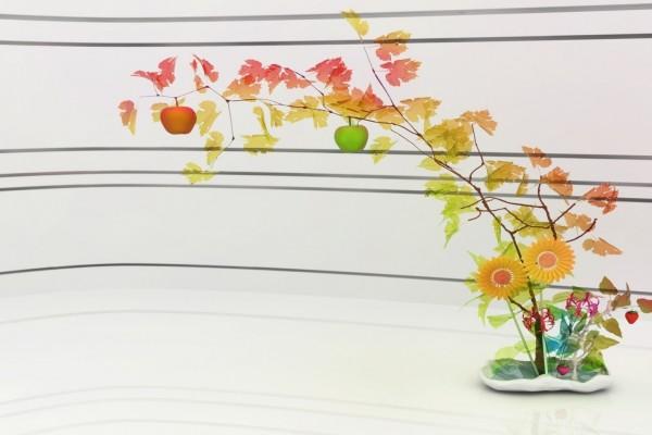 Adorno floral en 3D con manzanas y hojas