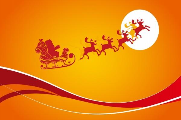 Papá Noel volando con su trineo