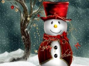 Postal: Muñeco de nieve vestido elegantemente