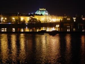 Postal: Noche en Praga