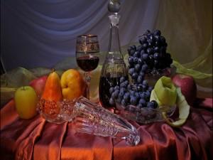 Bodegón con frutas y vino
