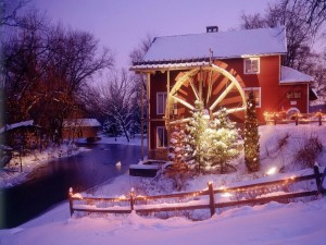 Postal: Casita adornada para Navidad y Año Nuevo