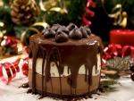 Pastel de chocolate para la cena de Navidad