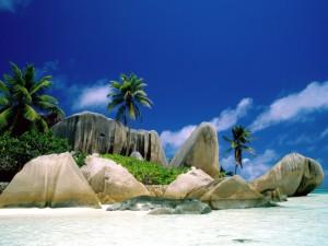 Postal: Playa con rocas y palmeras