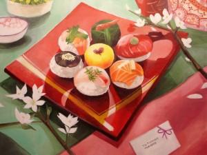 Preciosa pintura de comida japonesa