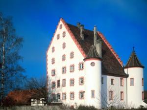 Postal: Castillo blanco y rojo
