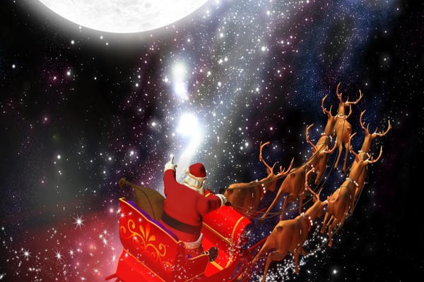 Papá Noel recorriendo el mundo