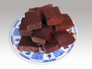 Postal: Pasteles cuadrados de chocolate