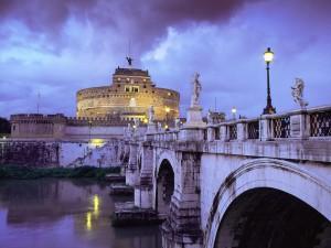 Postal: El castillo y puente de Sant'Angelo, Roma