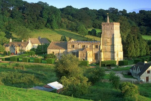 Edificaciones en los Montes Cotswolds, Inglaterra