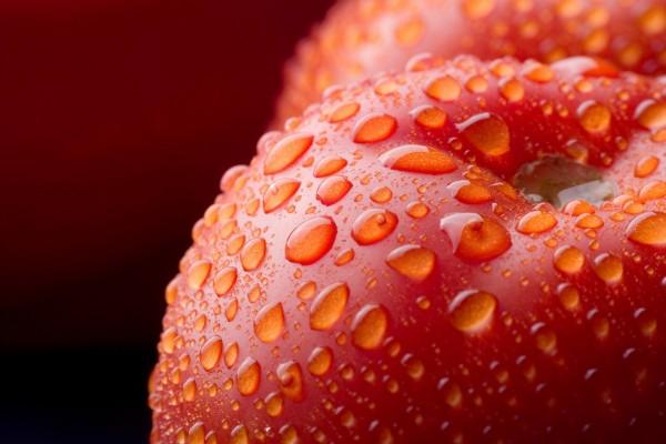Tomates con gotas de agua